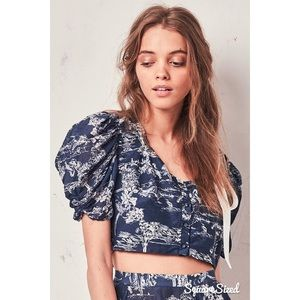 LoveShackFancy Elsa Top Puff Sleeve Button Crop